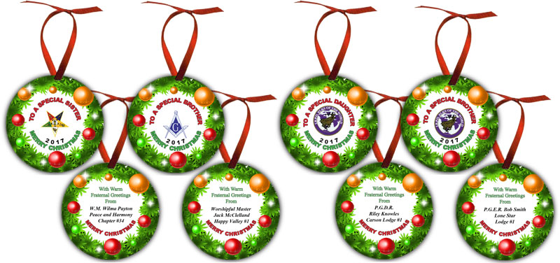 XM-4170-2S Colorful Round Disc Christmas Ornament 2-Sided with ...