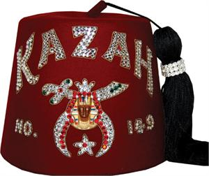 M3 The Imperial Shrine Fez with Double Row Rhinestone Letters