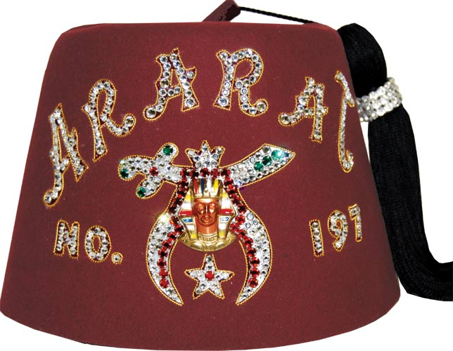 bb2d49473 M2 The Aristocrat Shrine Fez with Single Row Rhinestone Letters