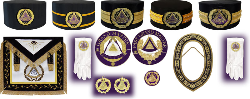 MASONIC COLLAR APRON HAND EMBROIDERED GRAND LODGE PAST MASTER PENDANT Package#1