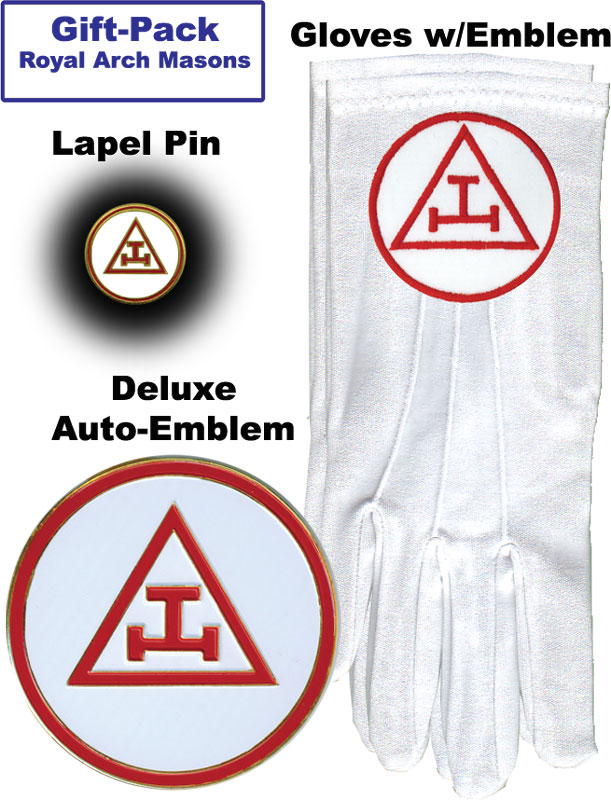 Gift-Pack-Set-3-RAM - Royal Arch - Gloves, Lapel Pin and Auto Emblem