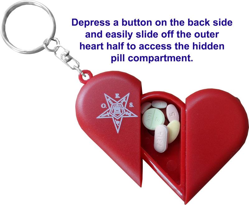 ESG104-R OES Red Heart Key Chain/Pill Box/Flashlight