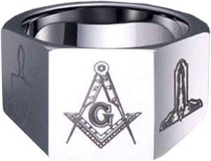 MRT067 - Square Cut Masonic Ring - Tungsten