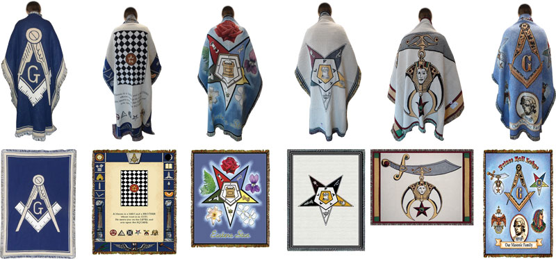 "MASONIC SYMBOLS MASON Tapestry Throw Blanket Fringed 48/"" X 60/"""