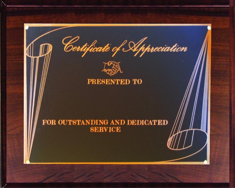 up810ca cert  of appreciation plaque