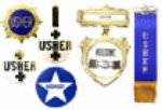 BADGES & PINS FOR USHERS - STOCK DESIGNS